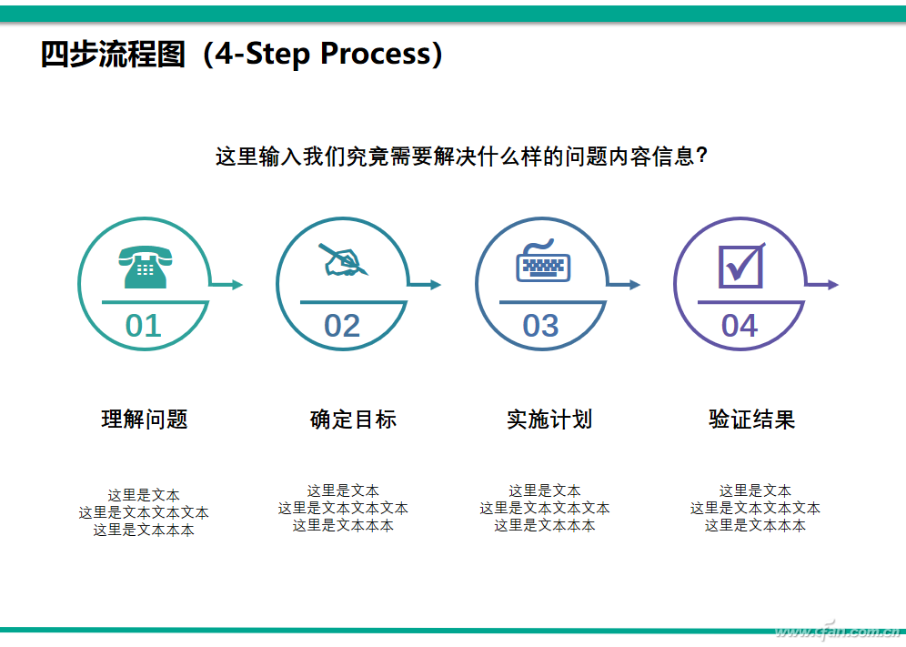 PPT办公技巧:PPT制作四步流程图