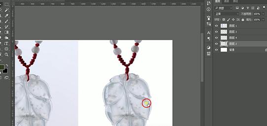 产品修图,给项链玉叶子吊坠进行精修