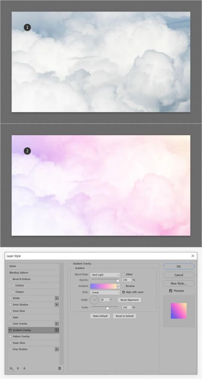 工具运用,用ps的渐变工具制作小清新的柔和背景照片