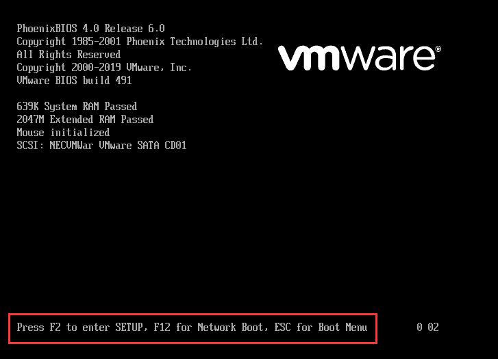 vmware进入 bios设置 的方法