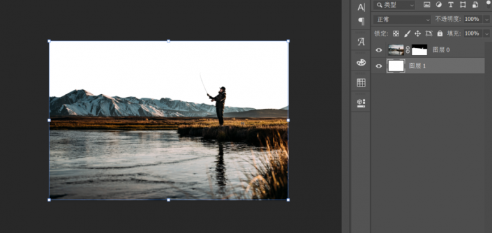 创意合成,制作一张冰川垂钓人物照片