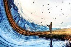 创意合成,PS制作一张冰川垂钓人物照片